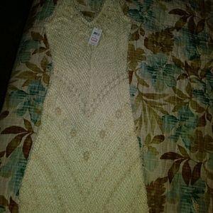 Crochet long dress in beige color